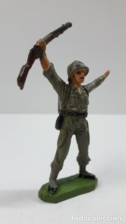 Figuras de Goma y PVC: SOLDADO AMERICANO . REALIZADO POR JECSAN . SERIE MARINES DE INFANTERIA . ORIGINAL AÑOS 50 EN GOMA - Foto 4 - 219384961