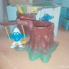 Figuras de Goma y PVC: ARBOL HUECO LOS PITUFOS PARA DEJAR LAPICES -1980-PEYO-CON CAJA. Lote 219857467