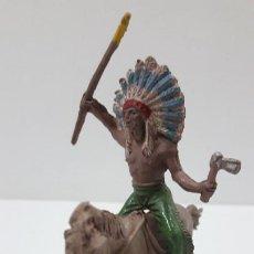Figuras de Goma y PVC: GUERRERO INDIO PARA CABALLO . REALIZADO POR JECSAN . ORIGINAL AÑOS 50 EN GOMA . CABALLO NO INCLUIDO. Lote 219867802