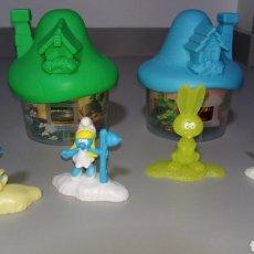 Figuras de Goma y PVC: INTERESANTE LOTE 2 SETA CASA PITUFOS + 4 MUÑECOS PITUFINA PROMOCIONAL MC DONALDS MCDONALDS. Lote 221227751