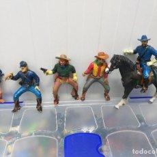 Figuras de Goma y PVC: LOTE 6 FIGURAS PVC SERIE WILD WEST COMANSI OESTE INDIOS VAQUEROS COWBOYS CABALLO GRAN TAMAÑO. Lote 221621031