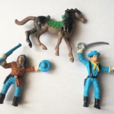 Figuras de Goma y PVC: LOTE 3 FIGURAS PLASTICO CABALLLO MUÑECO INDIO YANQUI SOLDADO FEDERADO COMANSI. Lote 221626447