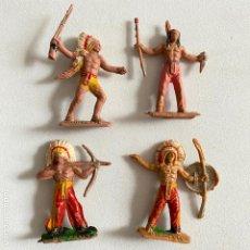 Figuras de Goma y PVC: LOTE 4 MUÑECOS-FIGURAS INDIOS DE COMANSI DE MINI OESTE-MINIOESTE. Lote 221648386