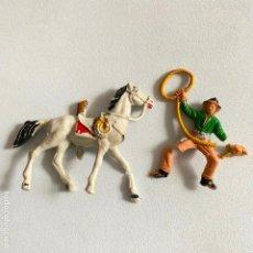 Figuras de Goma y PVC: MUÑECOS-FIGURAS VAQUERO Y CABALLO DE COMANSI DE MINI OESTE-MINIOESTE. Lote 221649151
