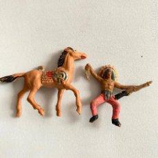 Figuras de Goma y PVC: MUÑECOS-FIGURAS INDIO Y CABALLO DE COMANSI DE MINI OESTE-MINIOESTE. Lote 221649321