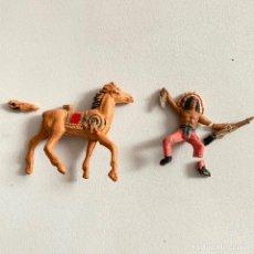 Figuras de Goma y PVC: MUÑECOS-FIGURAS INDIO Y CABALLO DE COMANSI DE MINI OESTE-MINIOESTE. Lote 221649531