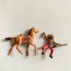 Figuras de Goma y PVC: MUÑECOS-FIGURAS INDIO Y CABALLO DE COMANSI DE MINI OESTE-MINIOESTE. Lote 221649582