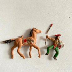 Figuras de Goma y PVC: MUÑECOS-FIGURAS INDIO Y CABALLO DE COMANSI DE MINI OESTE-MINIOESTE. Lote 221649663