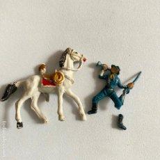Figuras de Goma y PVC: MUÑECOS-FIGURAS SOLDADO FEDERAL Y CABALLO DE COMANSI DE MINI OESTE-MINIOESTE FEDERADO-VAQUERO. Lote 221650082