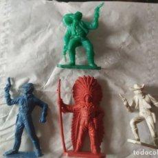 Figuras de Goma y PVC: FIGURAS PVC COMANSI PRIMERA EPOCA OESTE INDIOS VAQUEROS CAWBOY MONOCROMATICOS. Lote 221660245