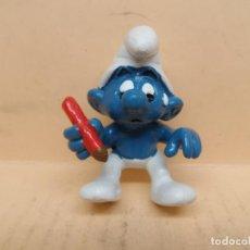 Figuras de Goma y PVC: FIGURA PVC LOS PITUFOS PITUFO CON LÁPIZ SCHLEICH AÑOS 80. Lote 221868080
