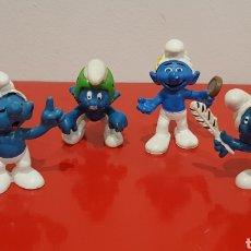 Figuras de Goma y PVC: LOTE 4 PITUFOS / THE SMURFS / AÑOS 80. Lote 222091320