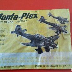 Figuras de Goma y PVC: MONTA-PLEX AVIÓN STUKA-JUNKER 2A GUERRA MUNDIAL.MONTAPLEX 1967 ORIGINAL SIN ABRIR.. Lote 222700790