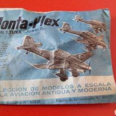 Figuras de Goma y PVC: MONTA-PLEX AVIÓN STUKA-JUNKER 2A GUERRA MUNDIAL.MONTAPLEX 1967 ORIGINAL SIN ABRIR.. Lote 222701050