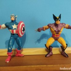 Figuras de Goma y PVC: COMICS SPAIN,CAPITAN AMERICA Y LOBEZNO. Lote 223106011