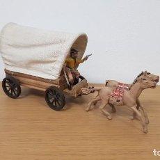 Figuras de Goma y PVC: CARRETA O CARAVANA DEL OESTE EN MADERA CON LONA DE TELA LAFREDO. Lote 223150038
