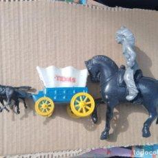 Figuras de Goma y PVC: ANTIGUA CARRETA OESTE Y CABALLO CON INDIO PLASTICO SOPLADO INFLADO KIOSKO AÑOS 60 70. Lote 223645795