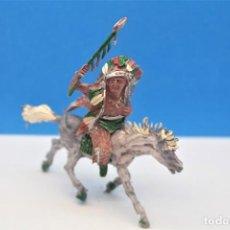 Figurines en Caoutchouc et PVC: ANTIGUAS FIGURAS DEL OESTE EN PLÁSTICO. GUERRERO INDIO LAFREDO A CABALLO. AÑOS 60.. Lote 223681476