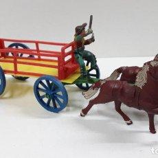 Figuras de Goma y PVC: CARRETA DE CARGA TIRADA POR DOS CABALLOS . REALIZADA POR M. SOTORRES . ORIGINAL AÑOS 50 / 60. Lote 224443906