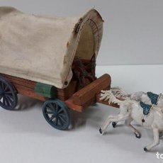 Figuras de Goma y PVC: CARRETA TIRADA POR DOS CABALLOS . CALIFORNIA - USA . REALIZADA POR LAFREDO . ORIGINAL AÑOS 50. Lote 224560953