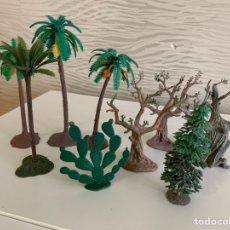 Figuras de Goma y PVC: LOTE 9 PIEZAS. VEGETACIÓN EN PLÁSTICO. PECH. ÁRBOL DEL CAZADOR. Lote 224574095