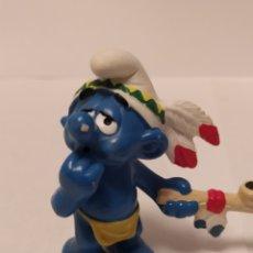 Figuras de Goma y PVC: PITUFO INDIO PEYO SCHILECH AÑO 2006 MADE IN PORTUGAL. Lote 224671362