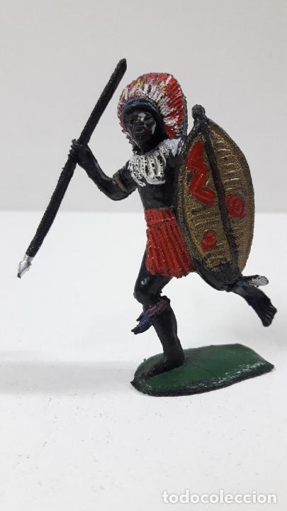 GUERRERO AFRICANO NEGRO . REALIZADO POR TEIXIDO . SERIE SAFARI . ORIGINAL AÑOS 60 (Juguetes - Figuras de Goma y Pvc - Teixido)