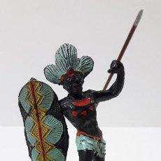 Figuras de Goma y PVC: GUERRERO AFRICANO NEGRO . REALIZADO POR ARCLA . ORIGINAL AÑOS 50 EN GOMA. Lote 224775690