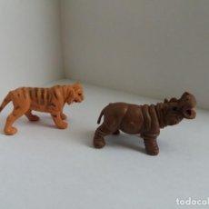 Figuras de Goma y PVC: DOS FIGURAS ANIMALES, HIPOPÓTAMO Y TIGRE.. Lote 224884783