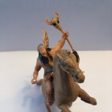 Figure di Gomma e PVC: ESTEREOPLAST FIGURA VIKINGO CON CABALLO ORIGINAL DE LA SERIE CAPITAN TRUENO EN CASCO FALTA UNA ALA. Lote 225006480