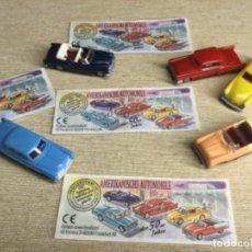 Figuras Kinder: COLECCIÓN COMPLETA DE 5 COCHES - AUTOMÓVILES AMERICANOS AÑOS 50 - FERRERO -KINDER + 4 BPZ. Lote 225033950