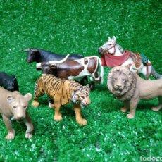 Figuras de Goma y PVC: LOTE 7 ANIMALES SCHLEICH GERMANY LEON TIGRE PANTERA LEONA TORO CABALLO BUEY. Lote 225102590