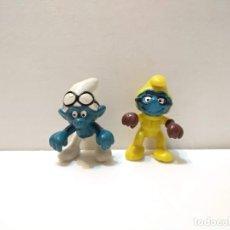 Figuras de Goma y PVC: ANTIGUAS FIGURAS PITUFOS MOTORISTAS - PEYO SCHLEICH 1978 - VER TODAS LAS FOTOS. Lote 225777215