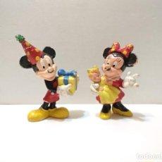 Figuras de Goma y PVC: ANTIGUAS FIGURAS DISNEY - MICKEY Y MINNIE CUMPLEAÑOS - VER TODAS LAS FOTOS. Lote 225781155