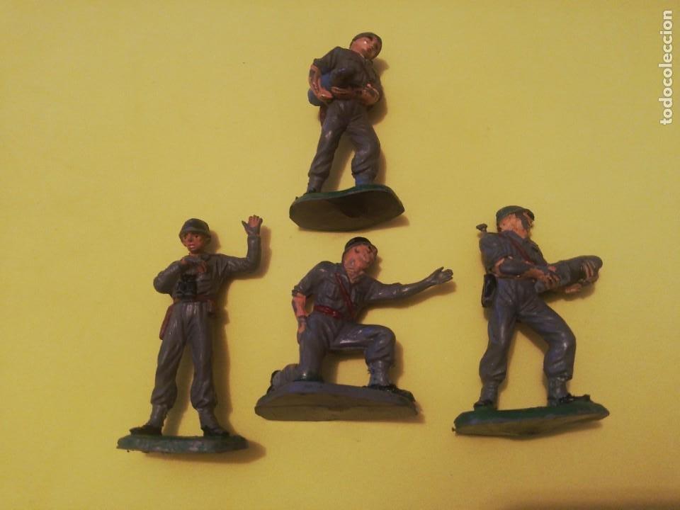 4 SERVIDORES CAÑON PECH MARINES AMERICANOS GOMA AÑOS 50 (Juguetes - Figuras de Goma y Pvc - Pech)