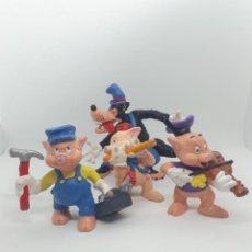 Figuras de Goma y PVC: LOTE FIGURAS LOS TRES CERDITOS Y EL LOBO FEROZ - DISNEY BULLYLAND - PVC. Lote 226292605