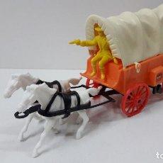 Figuras de Goma y PVC: CARRETA CON TOLDO TIRADA POR DOS CABALLOS . REALIZADA POR COMANSI . ORIGINAL AÑOS 70. Lote 227558285