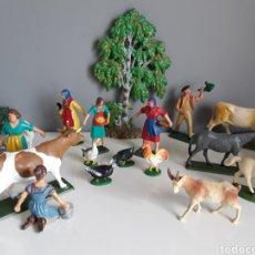 Figuras de Goma y PVC: LA GRANJA DE STARLUX FRANCE, CAMPESIN@S, LECHERAS, ANIMALES, ABEDUL DE ELASTOLIN, AÑOS 60/70. Lote 227632035