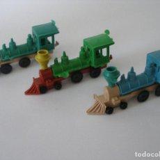 Figuras de Goma y PVC: TRES OCOMOTORAS DEL OESTE ( 9 CM ) AÑOS 70 SIN USO. Lote 184361561