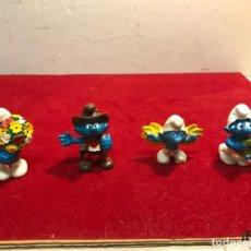 Figuras de Goma y PVC: LOTE 4 PITUFOS MUÑECOS DE GOMA 1981. VER DESCRIPCIÓN. Lote 119239347