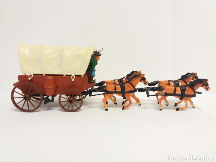 Figuras de Goma y PVC: DiLiGENCIA CARRETA CON 4 CABALLOS Y VAQUERO ( como NUEVO ) ***COMANSI ? *** - Foto 2 - 228350685