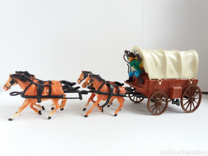 Figuras de Goma y PVC: DiLiGENCIA CARRETA CON 4 CABALLOS Y VAQUERO ( como NUEVO ) ***COMANSI ? *** - Foto 3 - 228350685