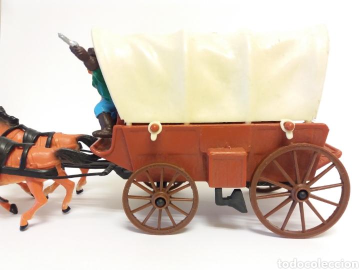 Figuras de Goma y PVC: DiLiGENCIA CARRETA CON 4 CABALLOS Y VAQUERO ( como NUEVO ) ***COMANSI ? *** - Foto 5 - 228350685