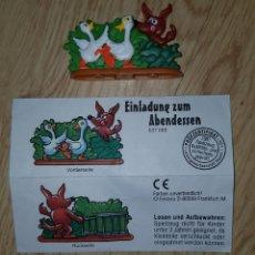 Figuras Kinder: FIGURA KINDER FERRERO ANTIGUA PUZZLE 3D PUZLE LOBO Y PATOS GANSOS +BPZ MUÑECO COLECCIÓN. Lote 228364815