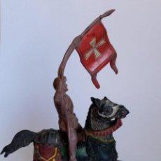 Figuras de Goma y PVC: MEDIEVAL A CABALLO CON BANDERA O ESTANDARTE - REAMSA FIGURA ANTIGUA. Lote 46480112