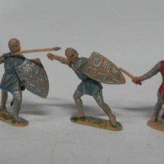 Figuras de Goma y PVC: 5 FIGURAS MEDIEVAL CRUZADO, SERIE CRUZADOS, PLÁSTICO, JECSAN, ORIGINAL AÑOS 60.. Lote 229014620