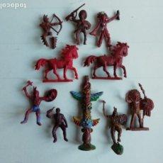 Figuras de Goma y PVC: BRITAINS-JEAN,...: FIGURAS OESTE INDIOS,COWBOYS/VAQUEROS+TOTEM.SERIE PEQUEÑA 4,5 CM. AÑOS 70-80.PTOY. Lote 46764073
