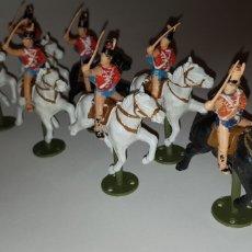 Figuras de Goma y PVC: HÚSARES DE MARIA LUISA DE REAMSA CON CABALLOS Y SOPORTES HÚSAR INDEPENDENCIA REAMSA. Lote 231418285