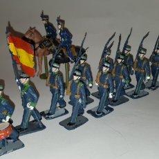 Figuras de Goma y PVC: DESFILE REAMSA REGIMIENTO DE CAZADORES GUARDIA REAL 15 FIGURAS Y DOS CABALLOS. Lote 231420110