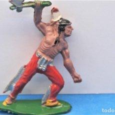 Figurines en Caoutchouc et PVC: ANTIGUA FIGURA DEL OESTE EN GOMA. GUERRERO INDIO . LAFREDO . VER FOTOS Y LEER DESCRIPCIÓN.. Lote 231750970